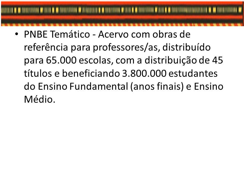 PNBE Temático - Acervo com obras de referência para professores/as, distribuído para 65.000 escolas, com a distribuição de 45 títulos e beneficiando 3
