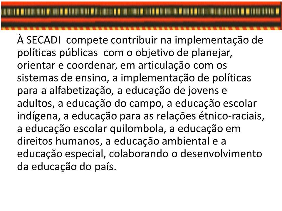 À SECADI compete contribuir na implementação de políticas públicas com o objetivo de planejar, orientar e coordenar, em articulação com os sistemas de