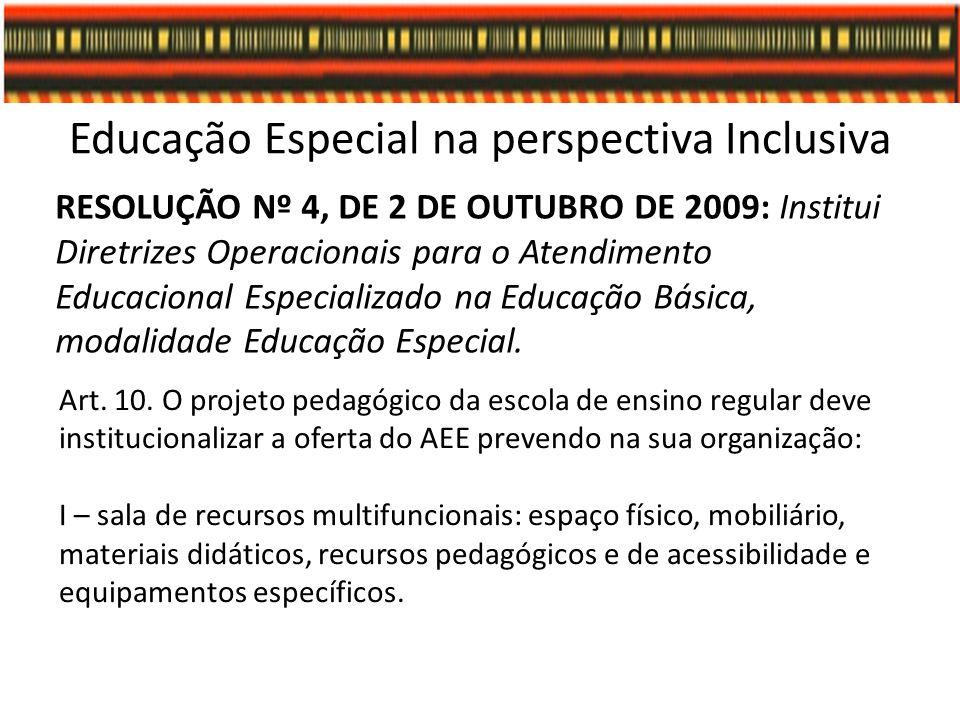 Educação Especial na perspectiva Inclusiva RESOLUÇÃO Nº 4, DE 2 DE OUTUBRO DE 2009: Institui Diretrizes Operacionais para o Atendimento Educacional Es