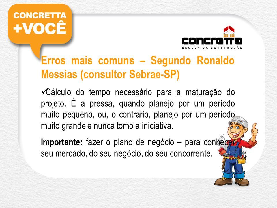 Erros mais comuns – Segundo Ronaldo Messias (consultor Sebrae-SP) Cálculo do tempo necessário para a maturação do projeto.