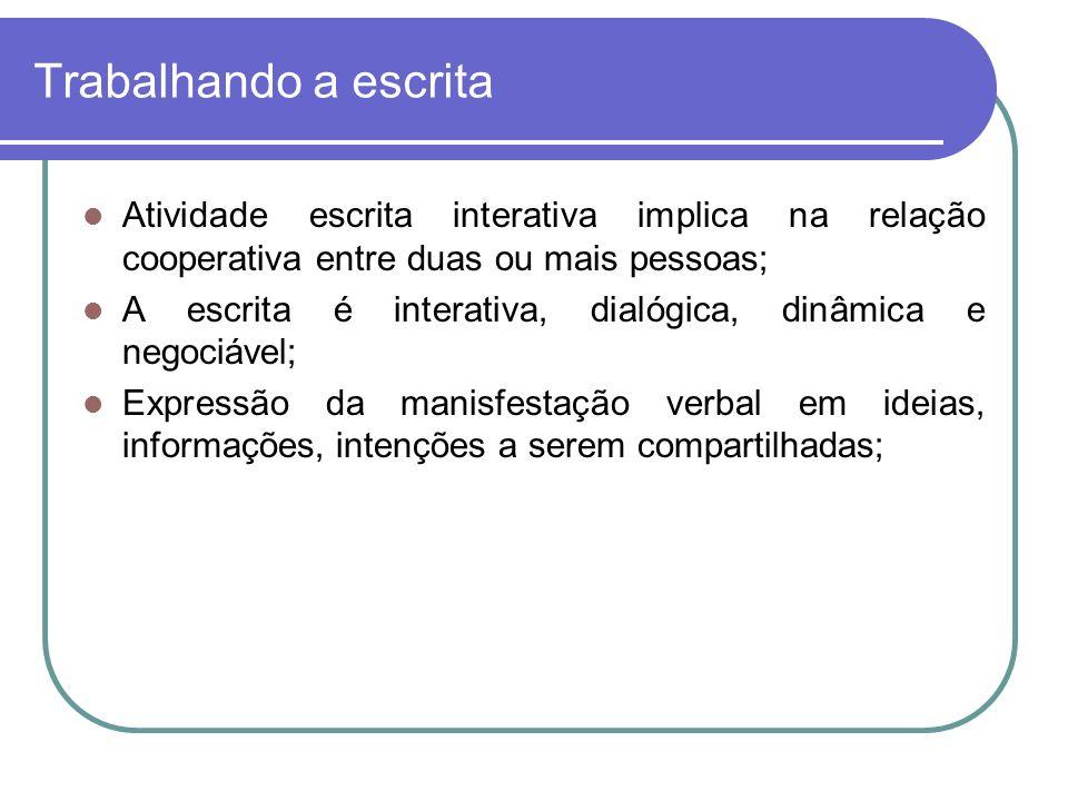 Trabalhando a escrita Atividade escrita interativa implica na relação cooperativa entre duas ou mais pessoas; A escrita é interativa, dialógica, dinâmica e negociável; Expressão da manisfestação verbal em ideias, informações, intenções a serem compartilhadas;