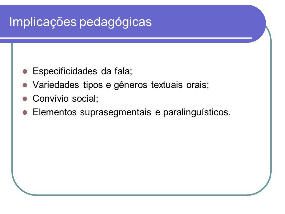 Implicações pedagógicas Especificidades da fala; Variedades tipos e gêneros textuais orais; Convívio social; Elementos suprasegmentais e paralinguísticos.