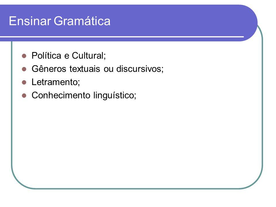 Ensinar Gramática Política e Cultural; Gêneros textuais ou discursivos; Letramento; Conhecimento linguístico;