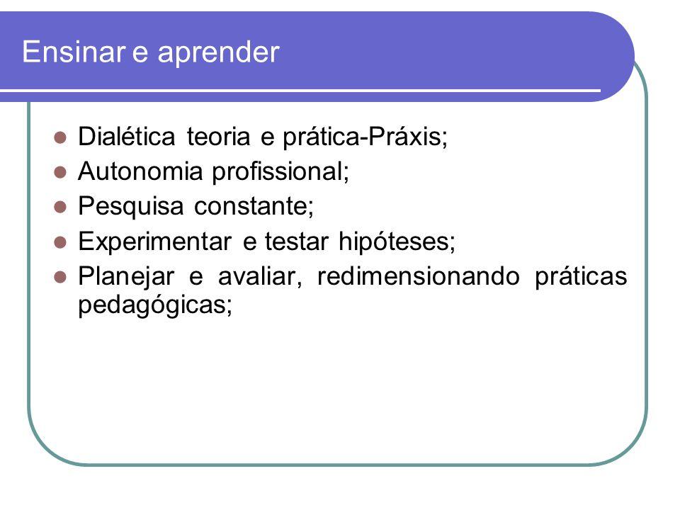 Ensinar e aprender Dialética teoria e prática-Práxis; Autonomia profissional; Pesquisa constante; Experimentar e testar hipóteses; Planejar e avaliar, redimensionando práticas pedagógicas;