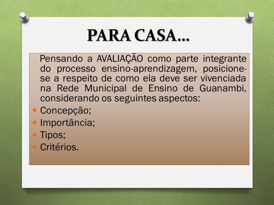 PARA CASA… Pensando a AVALIAÇÃO como parte integrante do processo ensino-aprendizagem, posicione- se a respeito de como ela deve ser vivenciada na Red