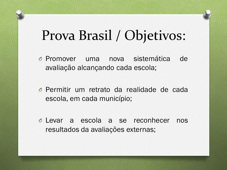 Prova Brasil / Objetivos: O Promover uma nova sistemática de avaliação alcançando cada escola; O Permitir um retrato da realidade de cada escola, em c