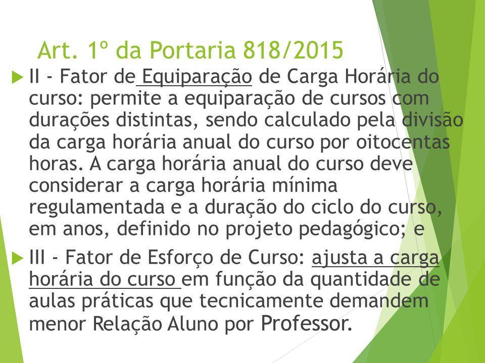 Art. 1º da Portaria 818/2015  II - Fator de Equiparação de Carga Horária do curso: permite a equiparação de cursos com durações distintas, sendo calc