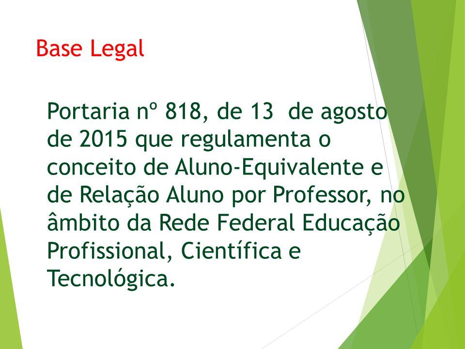 Base Legal Portaria nº 818, de 13 de agosto de 2015 que regulamenta o conceito de Aluno-Equivalente e de Relação Aluno por Professor, no âmbito da Rede Federal Educação Profissional, Científica e Tecnológica.