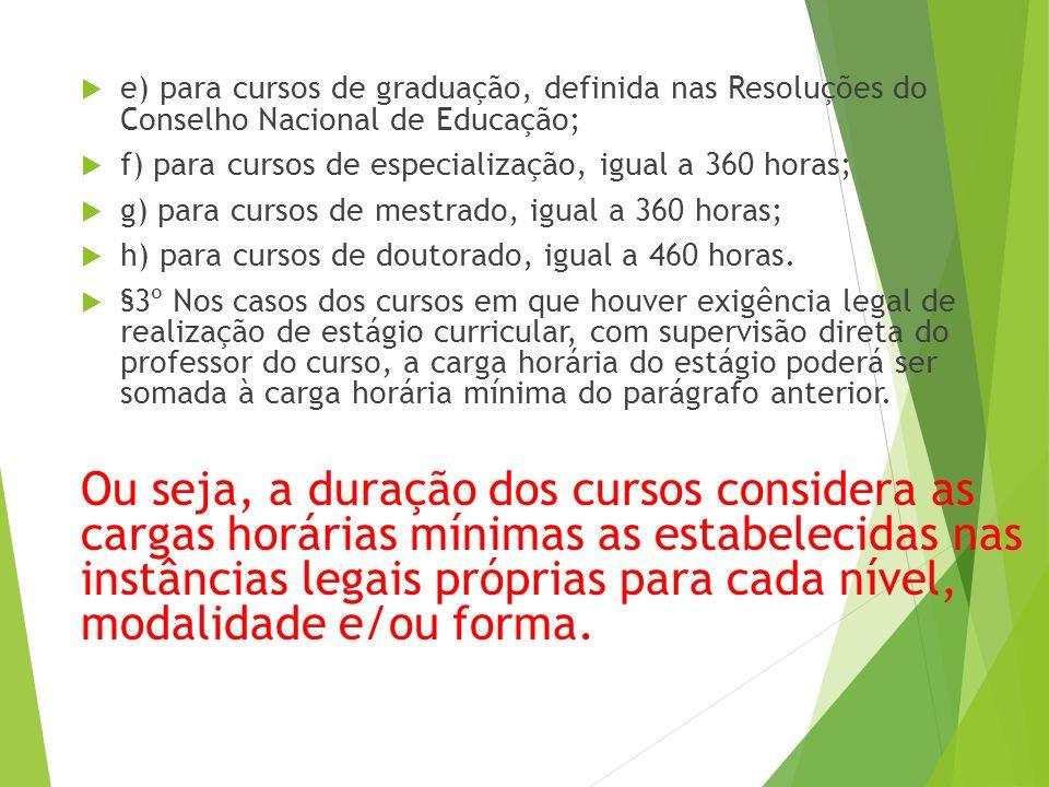  e) para cursos de graduação, definida nas Resoluções do Conselho Nacional de Educação;  f) para cursos de especialização, igual a 360 horas;  g) para cursos de mestrado, igual a 360 horas;  h) para cursos de doutorado, igual a 460 horas.