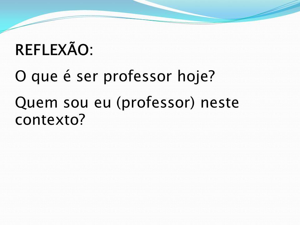 REFLEXÃO: O que é ser professor hoje? Quem sou eu (professor) neste contexto?