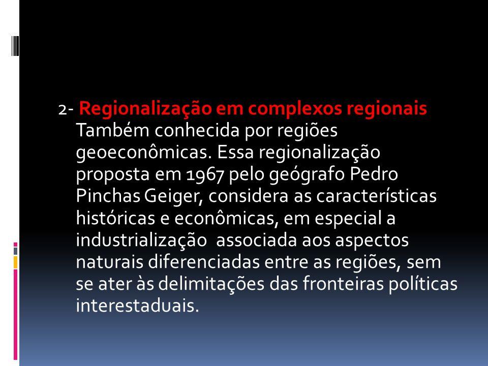 2- Regionalização em complexos regionais Também conhecida por regiões geoeconômicas.