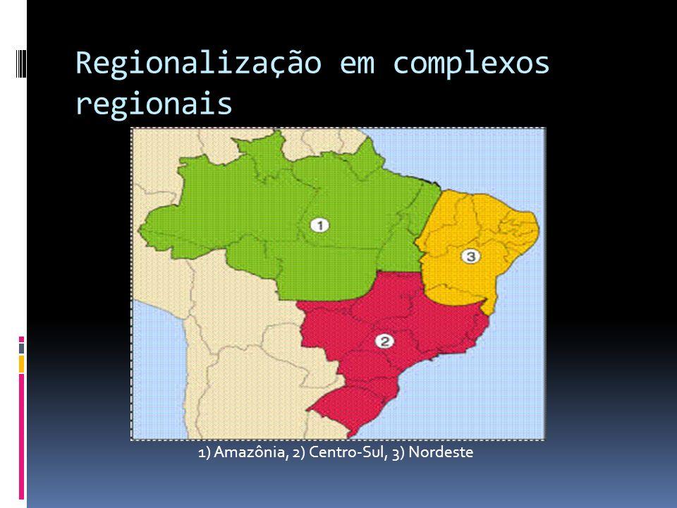 Regionalização em complexos regionais 1) Amazônia, 2) Centro-Sul, 3) Nordeste