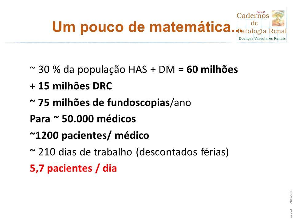Um pouco de matemática... ~ 30 % da população HAS + DM = 60 milhões + 15 milhões DRC ~ 75 milhões de fundoscopias/ano Para ~ 50.000 médicos ~1200 paci