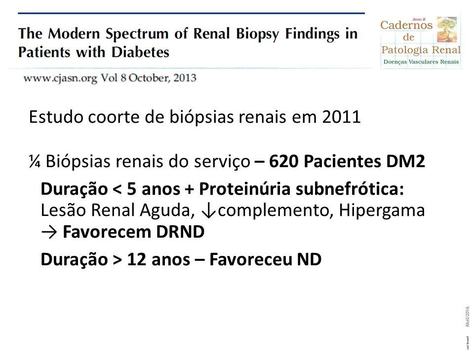 Estudo coorte de biópsias renais em 2011 ¼ Biópsias renais do serviço – 620 Pacientes DM2 Duração < 5 anos + Proteinúria subnefrótica: Lesão Renal Agu