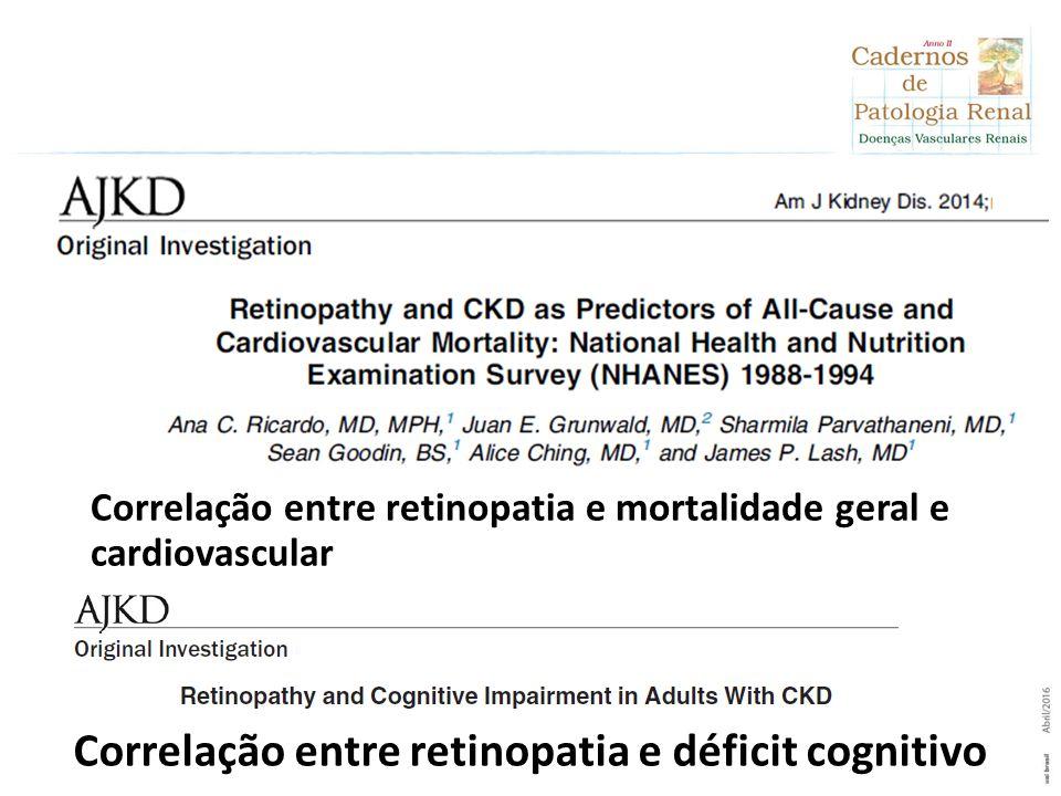 Correlação entre retinopatia e mortalidade geral e cardiovascular Correlação entre retinopatia e déficit cognitivo