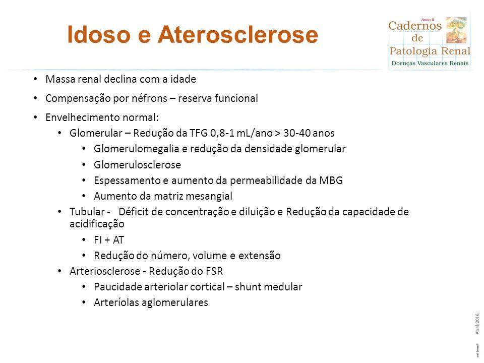 Idoso e Aterosclerose Massa renal declina com a idade Compensação por néfrons – reserva funcional Envelhecimento normal: Glomerular – Redução da TFG 0