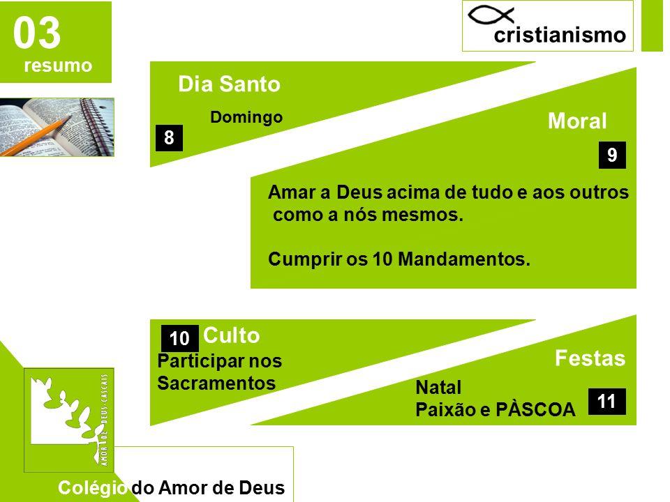 CAD 04 Festas Natal Paixão e PÀSCOA Dia Santo Domingo Culto Participar nos Sacramentos 8 10 Moral Amar a Deus acima de tudo e aos outros como a nós mesmos.