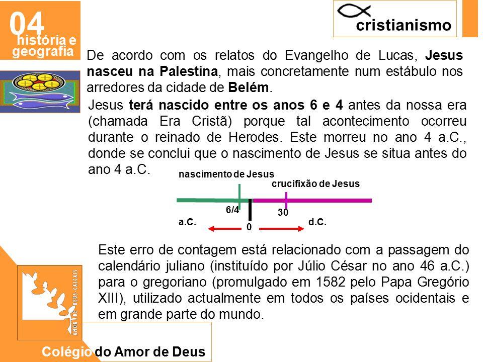 CAD De acordo com os relatos do Evangelho de Lucas, Jesus nasceu na Palestina, mais concretamente num estábulo nos arredores da cidade de Belém.