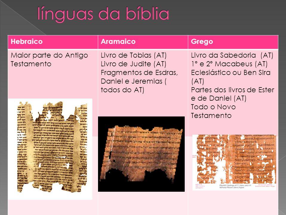 HebraicoAramaicoGrego Maior parte do Antigo Testamento Livro de Tobias (AT) Livro de Judite (AT) Fragmentos de Esdras, Daniel e Jeremias ( todos do AT