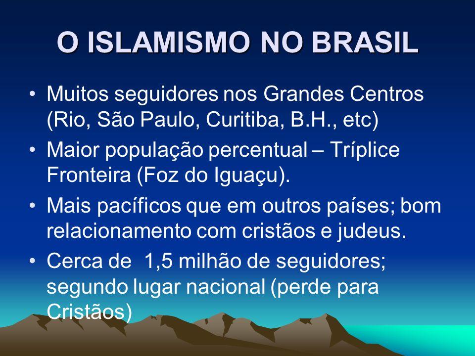 O ISLAMISMO NO BRASIL Muitos seguidores nos Grandes Centros (Rio, São Paulo, Curitiba, B.H., etc) Maior população percentual – Tríplice Fronteira (Foz do Iguaçu).