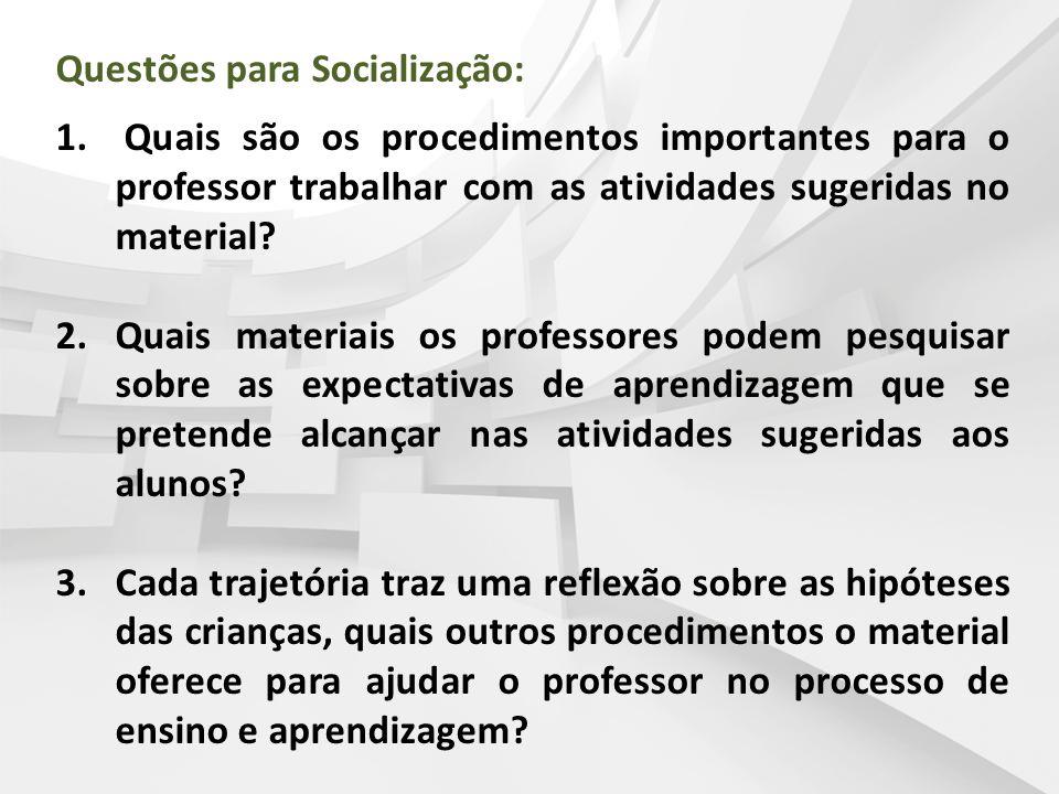 Questões para Socialização: 1. Quais são os procedimentos importantes para o professor trabalhar com as atividades sugeridas no material? 2.Quais mate