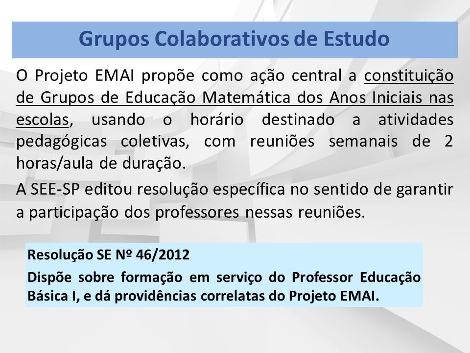 O Projeto EMAI propõe como ação central a constituição de Grupos de Educação Matemática dos Anos Iniciais nas escolas, usando o horário destinado a atividades pedagógicas coletivas, com reuniões semanais de 2 horas/aula de duração.