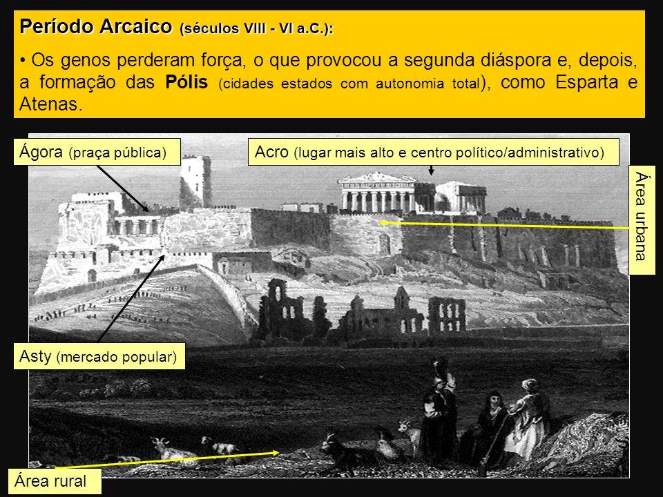 Período Arcaico (séculos VIII - VI a.C.): Os genos perderam força, o que provocou a segunda diáspora e, depois, a formação das Pólis (cidades estados com autonomia total ), como Esparta e Atenas.