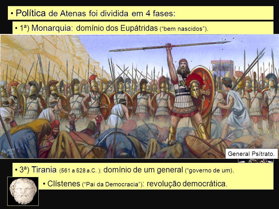 Política de Atenas foi dividida em 4 fases: Política de Atenas foi dividida em 4 fases: Monarquia 1ª) Monarquia : domínio dos Eupátridas ( bem nascidos ).