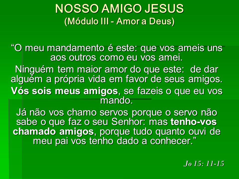 NOSSO AMIGO JESUS (Módulo III - Amor a Deus) O meu mandamento é este: que vos ameis uns aos outros como eu vos amei.