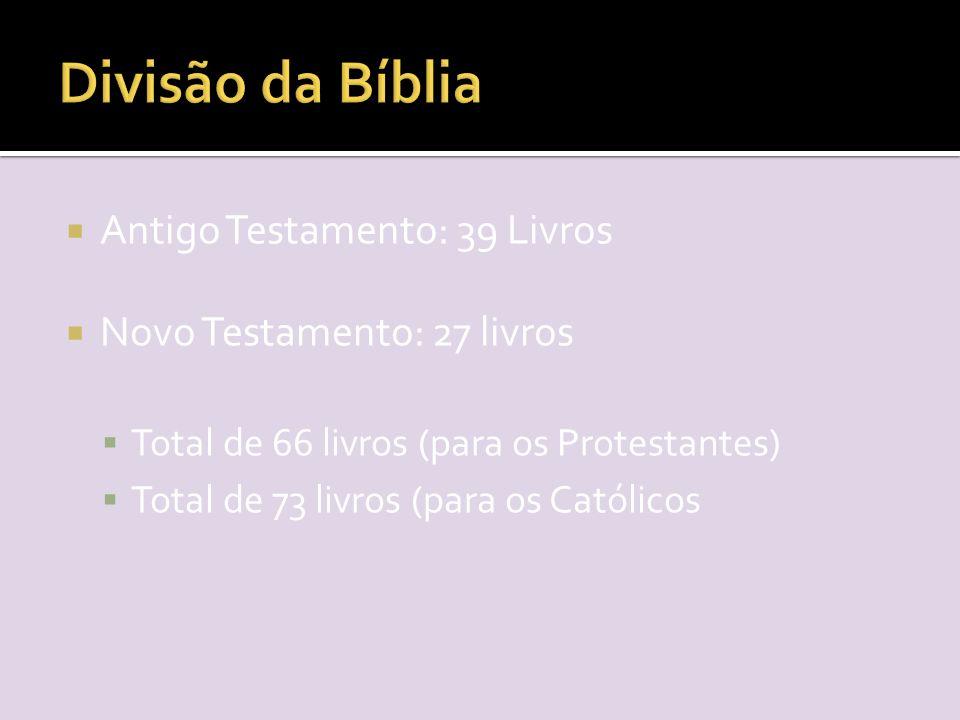  Antigo Testamento: 39 Livros  Novo Testamento: 27 livros  Total de 66 livros (para os Protestantes)  Total de 73 livros (para os Católicos