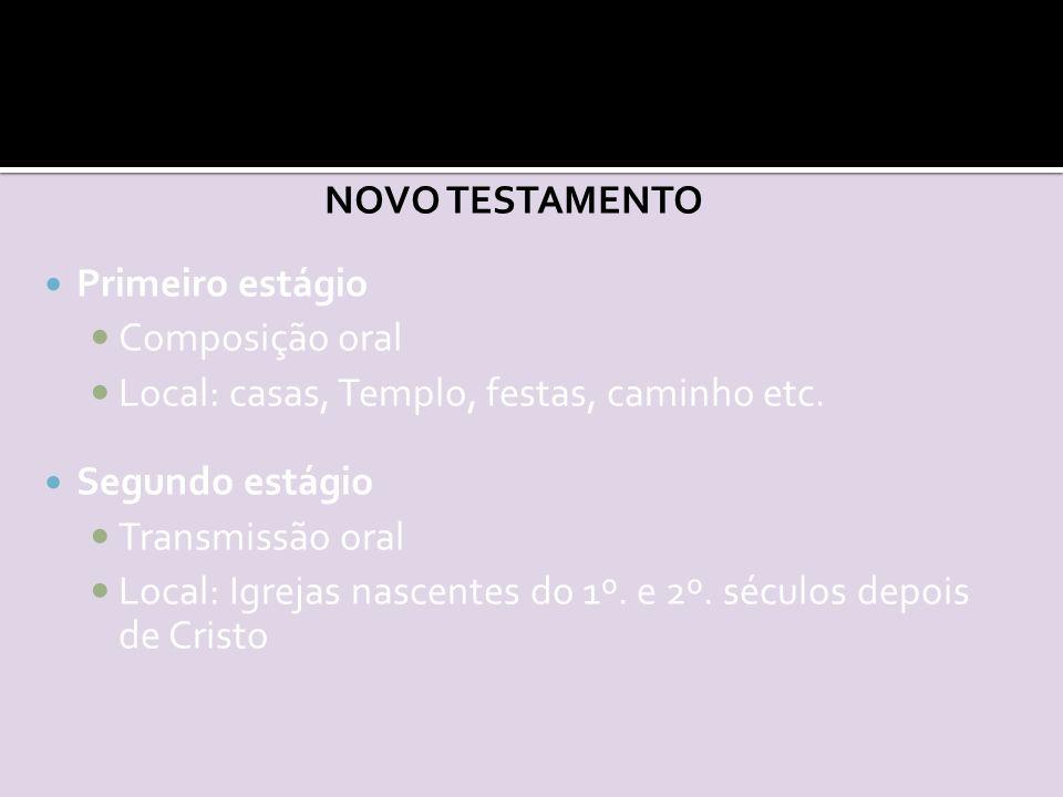 NOVO TESTAMENTO Primeiro estágio Composição oral Local: casas, Templo, festas, caminho etc.