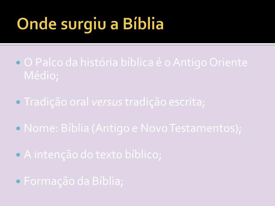O Palco da história bíblica é o Antigo Oriente Médio; Tradição oral versus tradição escrita; Nome: Bíblia (Antigo e Novo Testamentos); A intenção do texto bíblico; Formação da Bíblia;