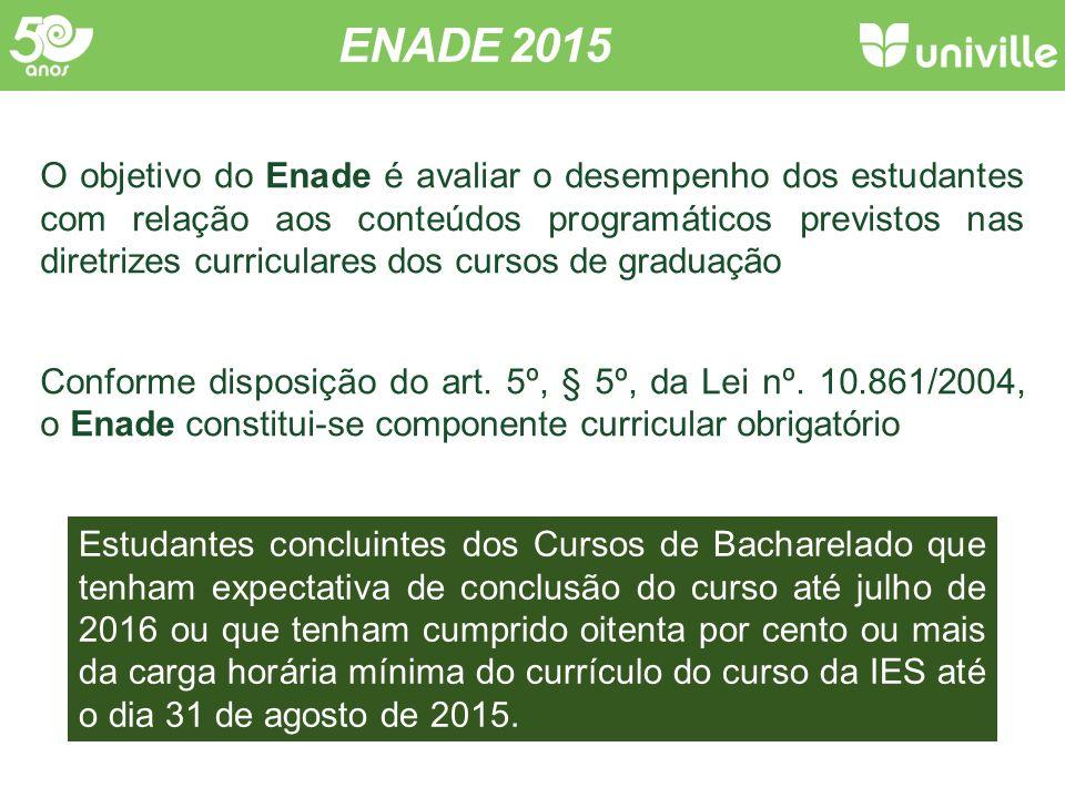 ENADE 2015 O objetivo do Enade é avaliar o desempenho dos estudantes com relação aos conteúdos programáticos previstos nas diretrizes curriculares dos cursos de graduação Conforme disposição do art.