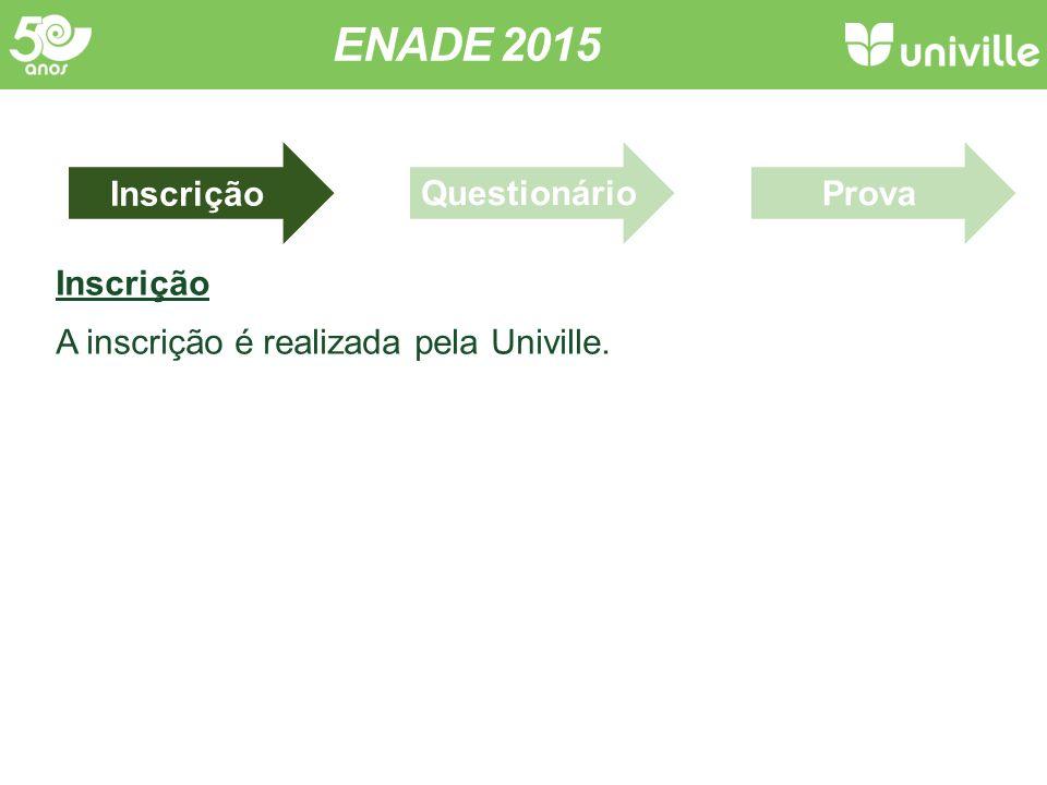 Inscrição A inscrição é realizada pela Univille. ENADE 2015 InscriçãoProvaQuestionário