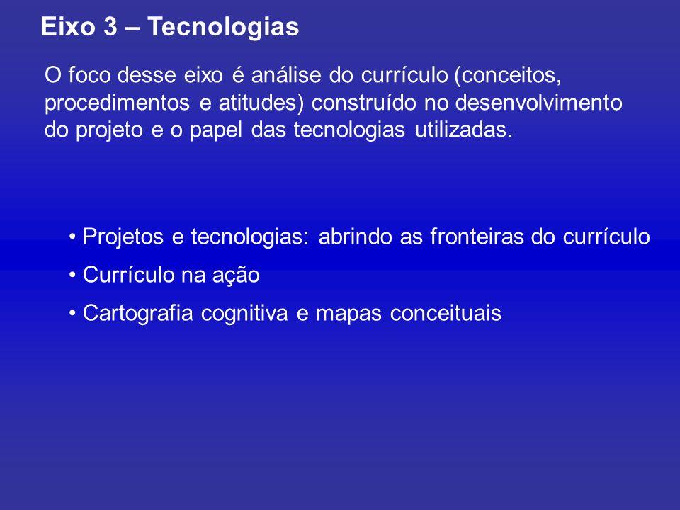 O foco desse eixo é análise do currículo (conceitos, procedimentos e atitudes) construído no desenvolvimento do projeto e o papel das tecnologias utilizadas.