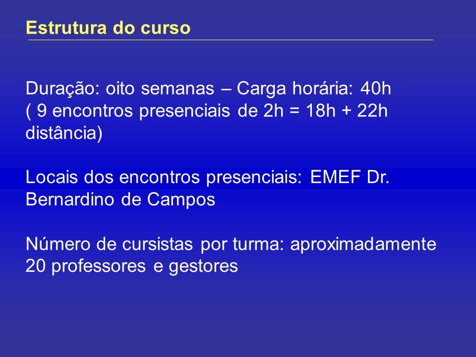 Estrutura do curso Duração: oito semanas – Carga horária: 40h ( 9 encontros presenciais de 2h = 18h + 22h distância) Locais dos encontros presenciais: EMEF Dr.