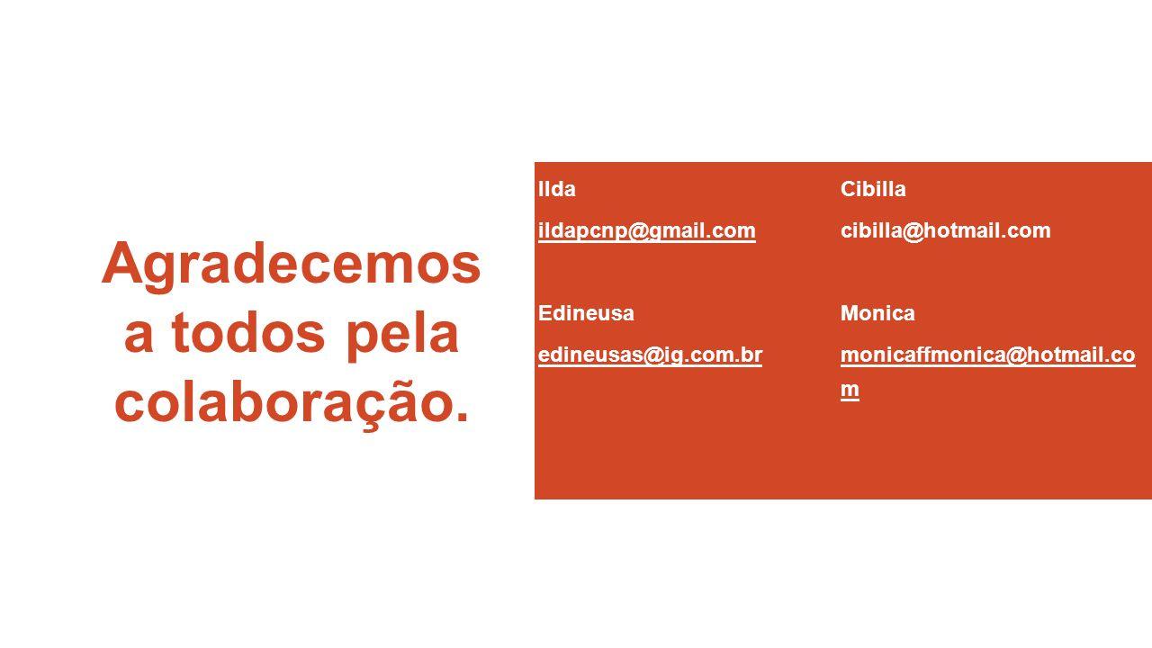 Agradecemos a todos pela colaboração. Ilda ildapcnp@gmail.com Edineusa edineusas@ig.com.br Cibilla cibilla@hotmail.com Monica monicaffmonica@hotmail.c