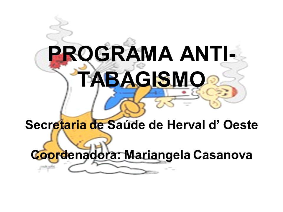 PROGRAMA ANTI- TABAGISMO Secretaria de Saúde de Herval d' Oeste Coordenadora: Mariangela Casanova