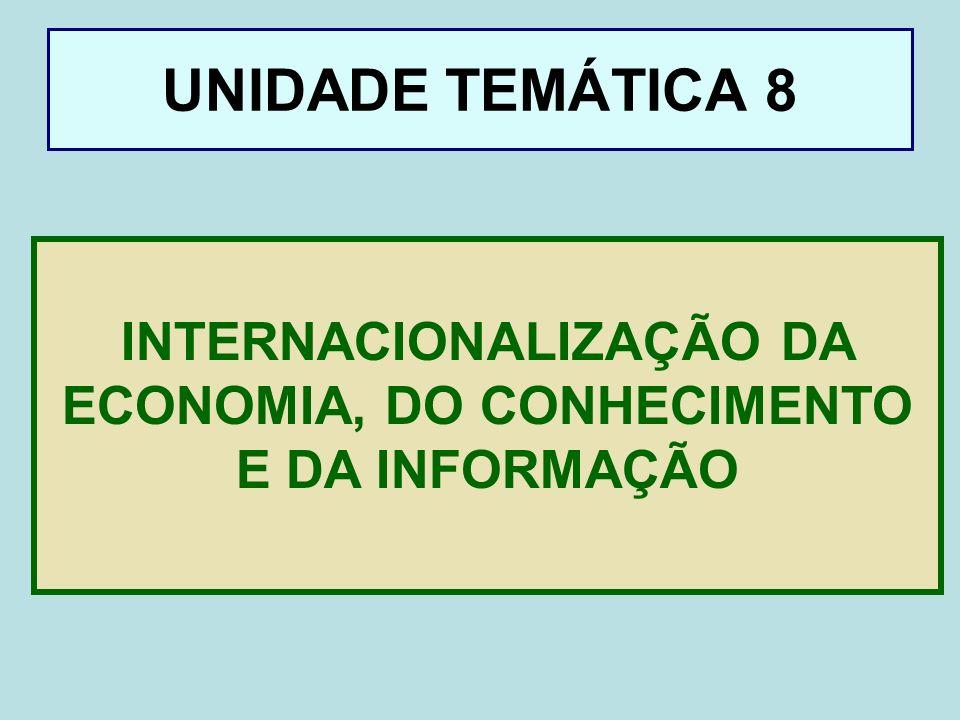UNIDADE TEMÁTICA 8 INTERNACIONALIZAÇÃO DA ECONOMIA, DO CONHECIMENTO E DA INFORMAÇÃO