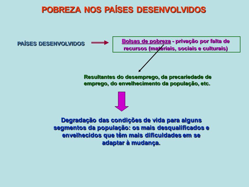 POBREZA NOS PAÍSES DESENVOLVIDOS PAÍSES DESENVOLVIDOS Bolsas de pobreza - privação por falta de recursos (materiais, sociais e culturais) Resultantes do desemprego, da precariedade de emprego, do envelhecimento da população, etc.