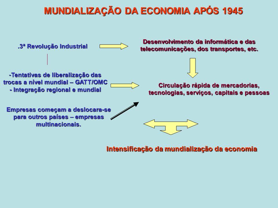 .3ª Revolução Industrial MUNDIALIZAÇÃO DA ECONOMIA APÓS 1945 Desenvolvimento da informática e das telecomunicações, dos transportes, etc.