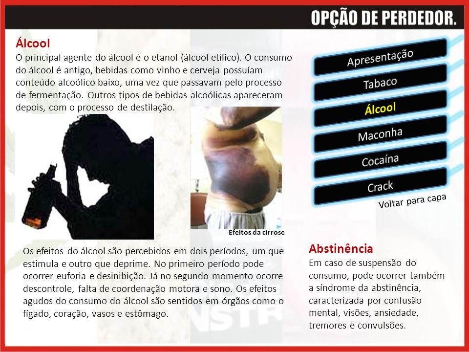 Álcool O principal agente do álcool é o etanol (álcool etílico).