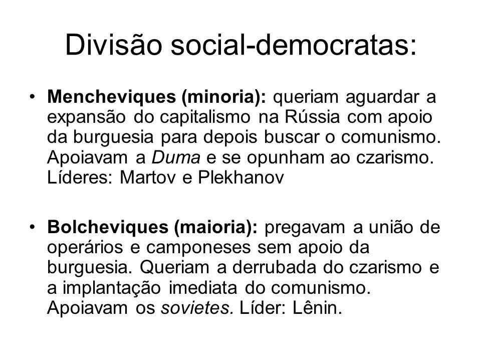 Divisão social-democratas: Mencheviques (minoria): queriam aguardar a expansão do capitalismo na Rússia com apoio da burguesia para depois buscar o comunismo.