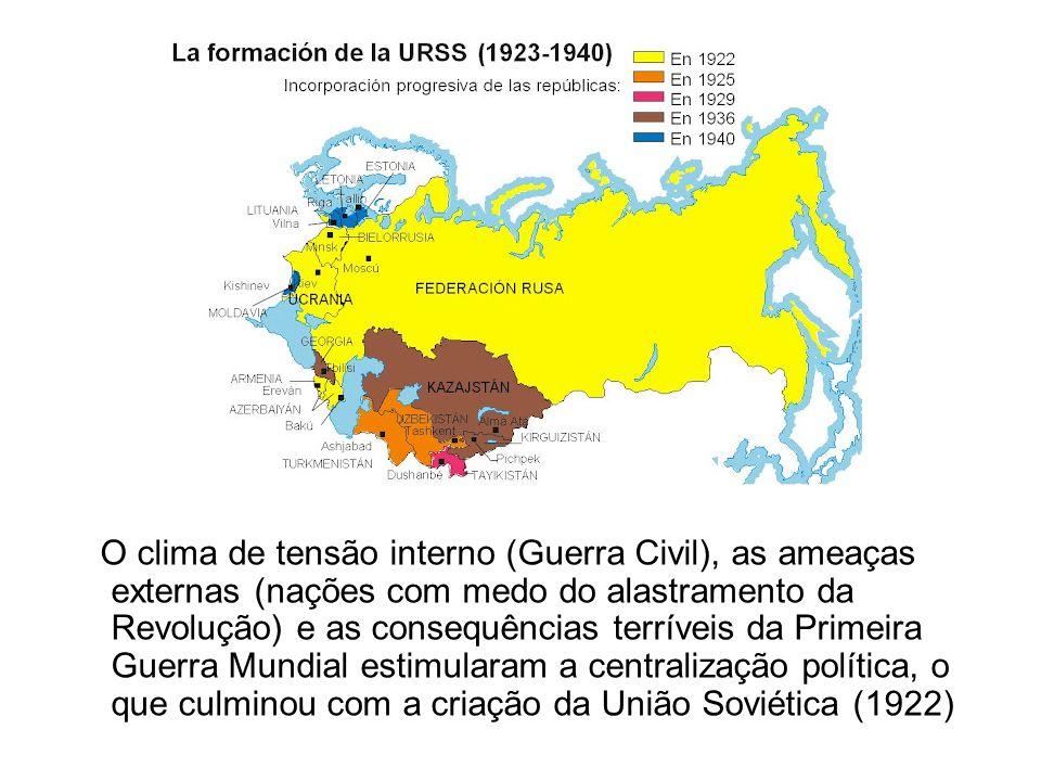O clima de tensão interno (Guerra Civil), as ameaças externas (nações com medo do alastramento da Revolução) e as consequências terríveis da Primeira Guerra Mundial estimularam a centralização política, o que culminou com a criação da União Soviética (1922)
