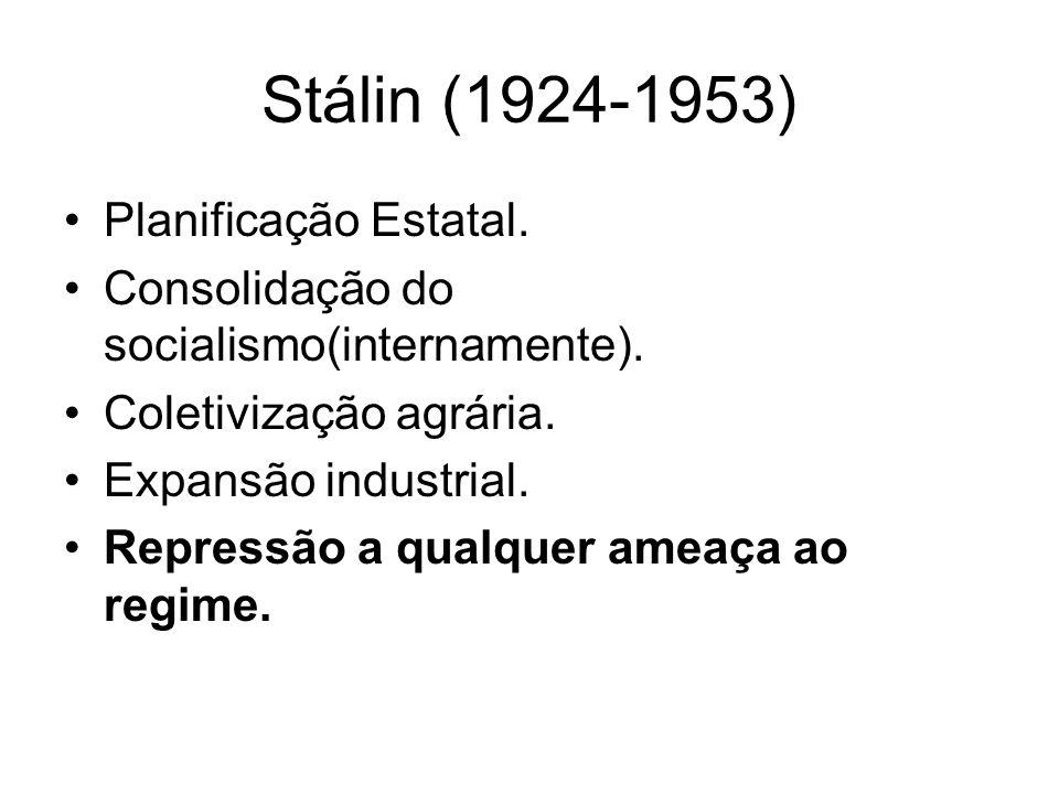 Stálin (1924-1953) Planificação Estatal. Consolidação do socialismo(internamente).