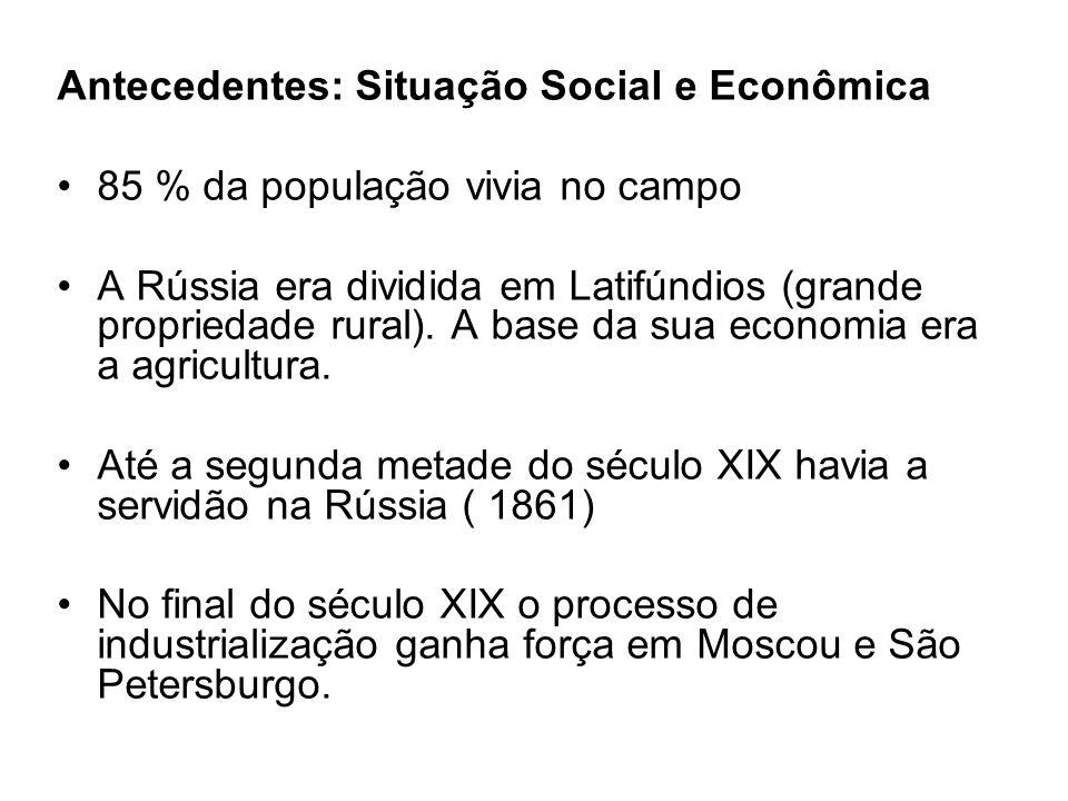 Antecedentes: Situação Social e Econômica 85 % da população vivia no campo A Rússia era dividida em Latifúndios (grande propriedade rural).