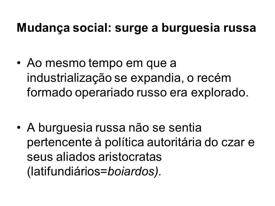 Mudança social: surge a burguesia russa Ao mesmo tempo em que a industrialização se expandia, o recém formado operariado russo era explorado.