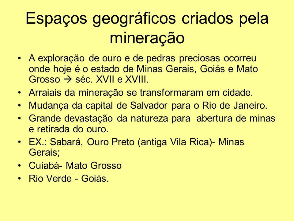 Espaços geográficos criados pela mineração A exploração de ouro e de pedras preciosas ocorreu onde hoje é o estado de Minas Gerais, Goiás e Mato Grosso  séc.