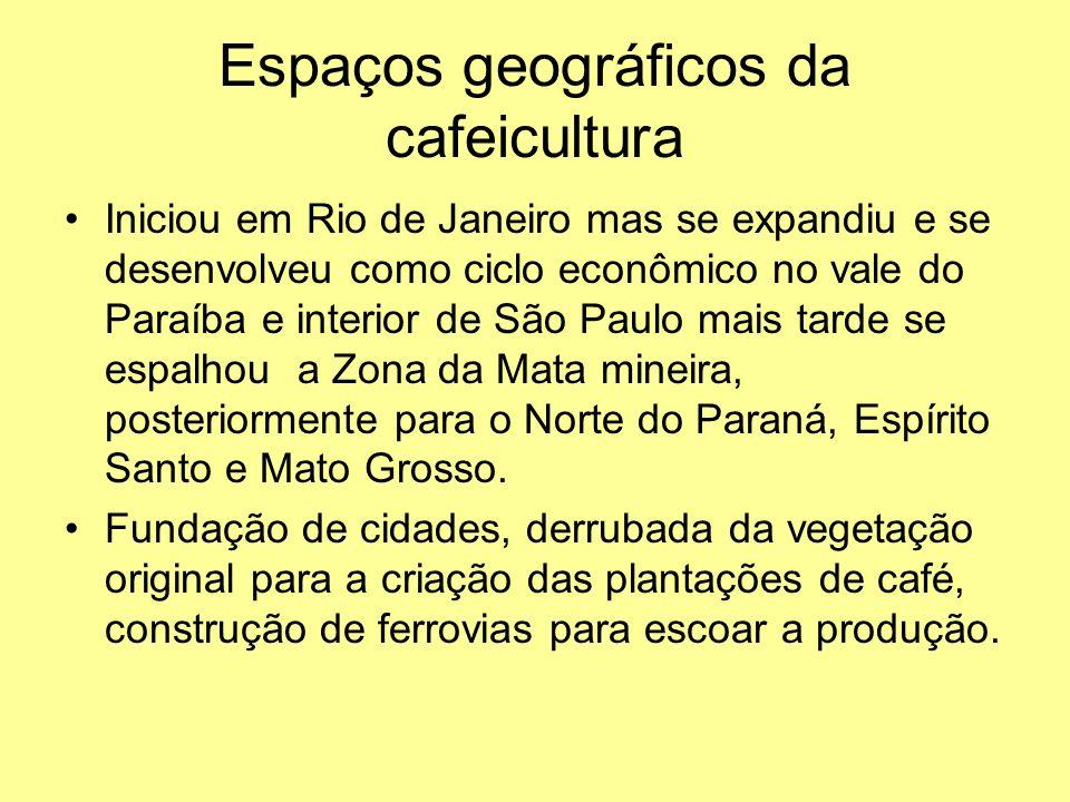 Espaços geográficos da cafeicultura Iniciou em Rio de Janeiro mas se expandiu e se desenvolveu como ciclo econômico no vale do Paraíba e interior de São Paulo mais tarde se espalhou a Zona da Mata mineira, posteriormente para o Norte do Paraná, Espírito Santo e Mato Grosso.