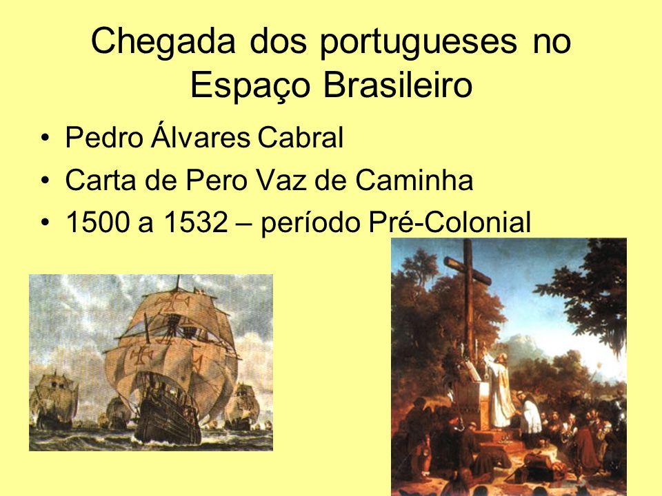 Chegada dos portugueses no Espaço Brasileiro Pedro Álvares Cabral Carta de Pero Vaz de Caminha 1500 a 1532 – período Pré-Colonial
